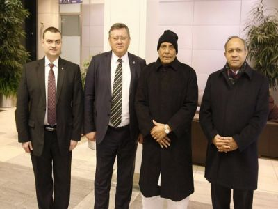 Union Home Minister Rajnath Singh arrived in Moscow for a three-day visit