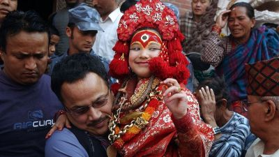 Three-year-old girl child bless as 'Living Goddess' in Nepal