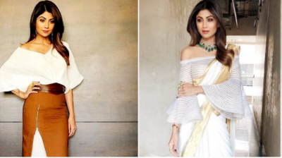 Which one do you like Shilpa Shetty in Kasavu or skirt over the dress