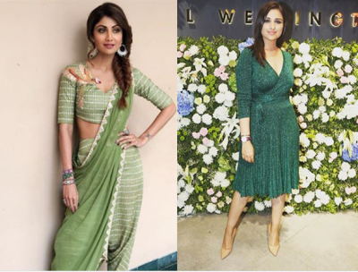 Shilpa Kundra and Parineeti Chopra appeared in all go-green an Indo-western avatar