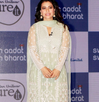 Kajol looks well pretty in her pista green outfit