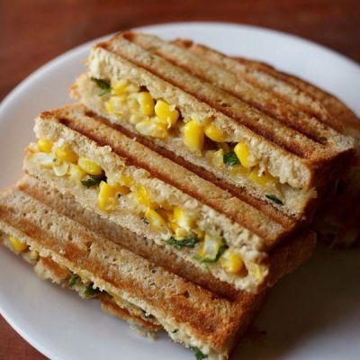 Make tasty corn capsicum sandwich in breakfast for your kids