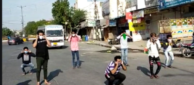 Video: Indore police giving punishment to those who violating the rules of lockdown