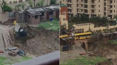 दिल्ली में बारिश ने खोली प्रशासन के दावों की पोल, इंदिरापुरम में फिर धंसी सड़क