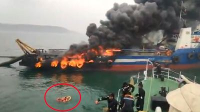VIDEO: Ship catches fire off Visakhapatnam, 29 crew members jumps into water