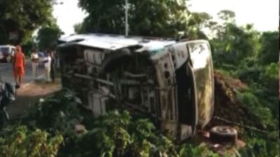 Uncontrolled bus loaded with Kanwaris with overturned, one killed several injured