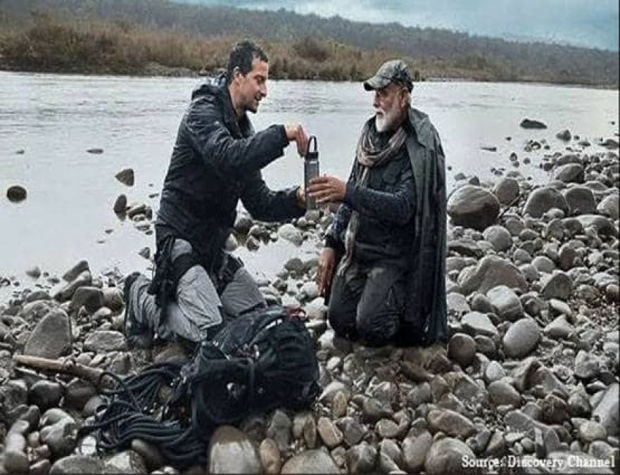 Man Vs Wild: PM Modi's 'Vajrasan Pose' liked by the audience, photo gets viral on social media