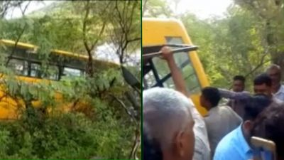 Rajasthan: Uncontrolled private school bus falls in pit, 40 children were on board