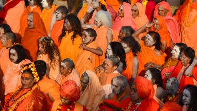 Devotees offer tridents ranging to Lord Shiva