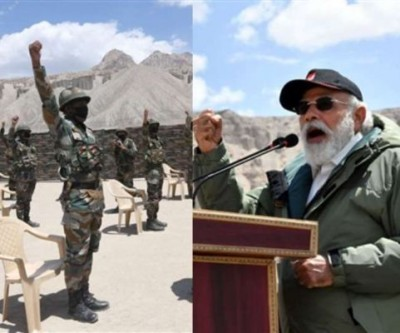 Indian soldiers react after PM Modi's Laddakh visit
