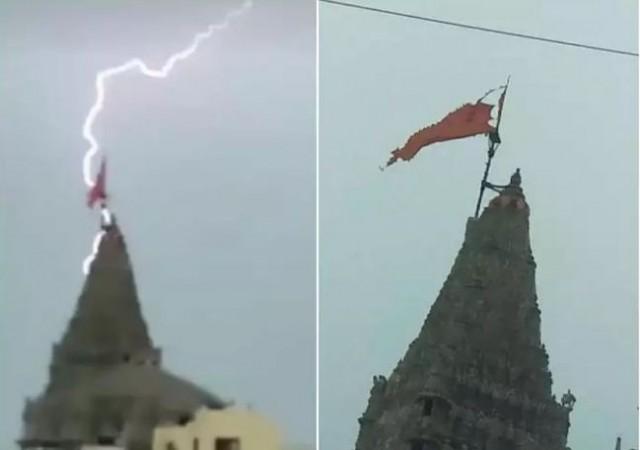 Lightning falls on Dwarkadhish temple, damages Flag only... See amazing Video | NewsTrack English 1