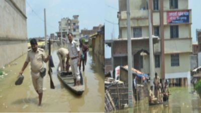 Bihar: Flood water entered police station, boat is being used for police patrolling