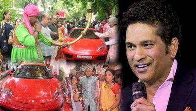 Girl drives to 'diksha' in Sachin Tendulkar's red Ferrari