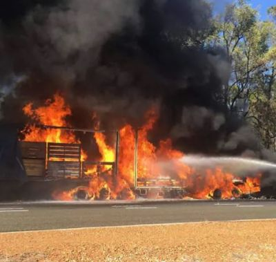 A massive fire broke out in a truck packed with gas cylinders in the Pali