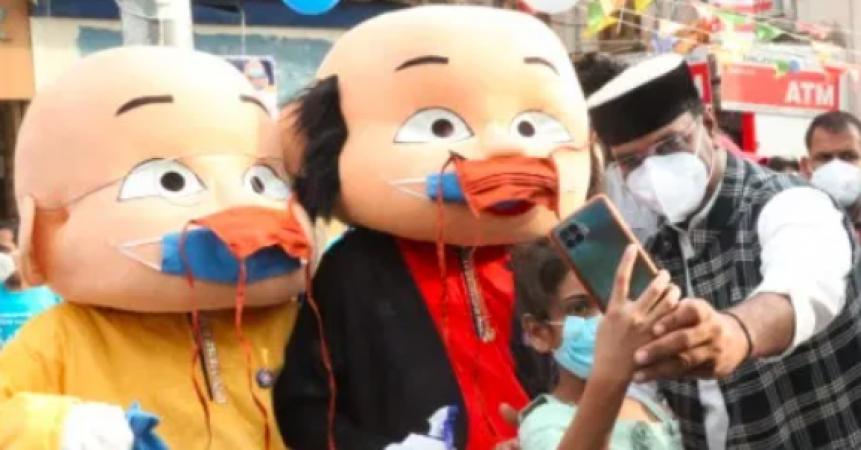 भोपाल: बाजार में मास्क बांटते नजर आए मोटू-पतलू, मंत्री विश्वास सारंग ने कही यह बात