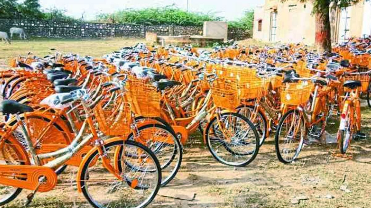 Rajasthan: In 2016, the BJP distributed saffron-coloured bicycles to