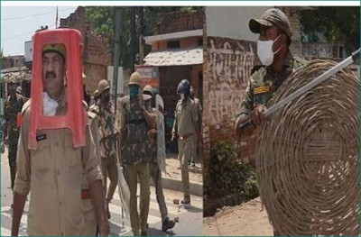 Unnao: Cop and inspector protecting themselves with plastic, learn what's the matter
