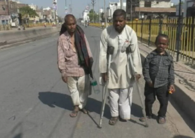 A handicapped man walks 500 kms to reach home during lockdown
