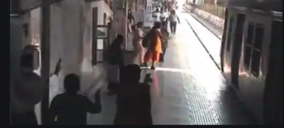 VIDEO: Woman jumped on railways track, police personnel saved her life