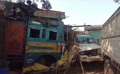 Speeding truck bumps crashes into shop, driver absconding