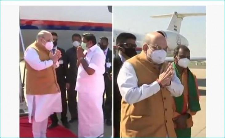 चेन्नई पहुंचे गृह मंत्री अमित शाह