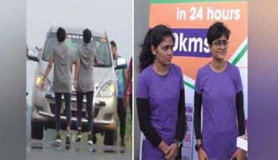 Two women ran upside down for 53 km, took 14 hours,  made a world record