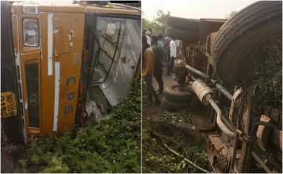 Madhya Pradesh: A horrific road accident in Hoshangabad, a school bus filled with children overturned