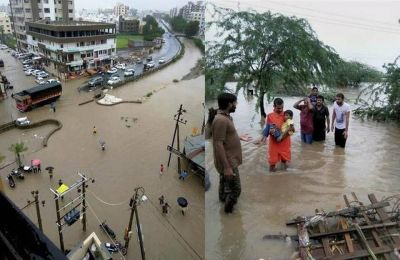 Heavy rains in Gujarat; Roads submerged, flood threat in many villages