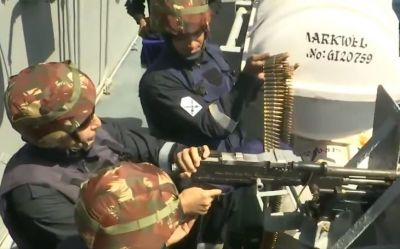 VIDEO: When Rajnath Singh held machine gun on INS Vikramaditya