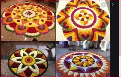 Decorate your house with this floral rangoli on Onam festival
