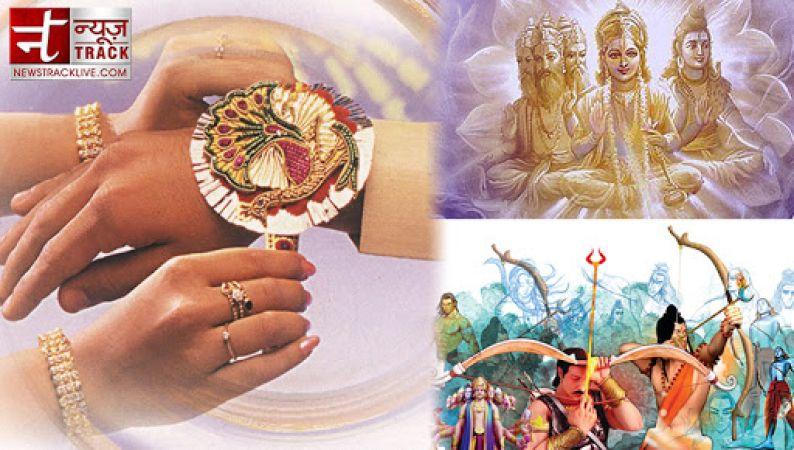 5 major accounts from the hindu mythology that describe the importance of Raksha Bandhan.