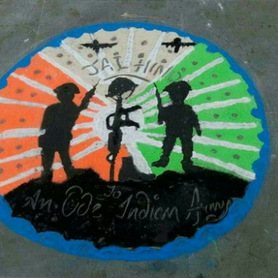 Rangoli is not only for decorating it gives many social message and tributes to Indian soldier martyrs.