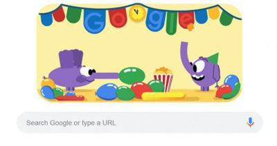 Google doodle  celebrates New Year's Eve 2018 with colorful cute elephants