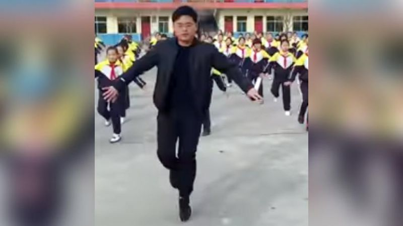 The school principal leading a shamble dance in China's Shanxi gone viral on social media.