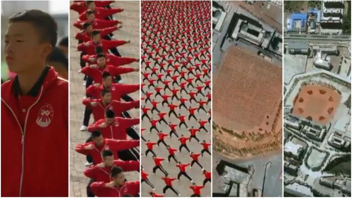 Viral Video! Shaolin Kung Fu practicing video from Space with mesmerizing shapes and patterns