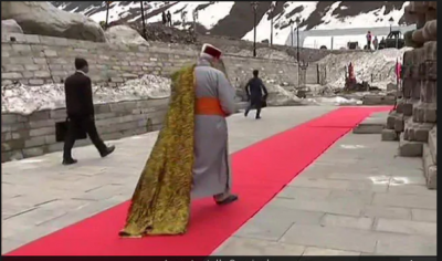PM Modi's red carpet looks in Kedarnath; twitter comments Is it Cannes2019?