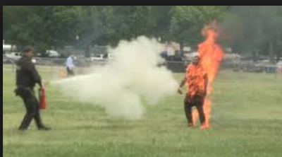 A Man set himself on fire and walking; video goes viral