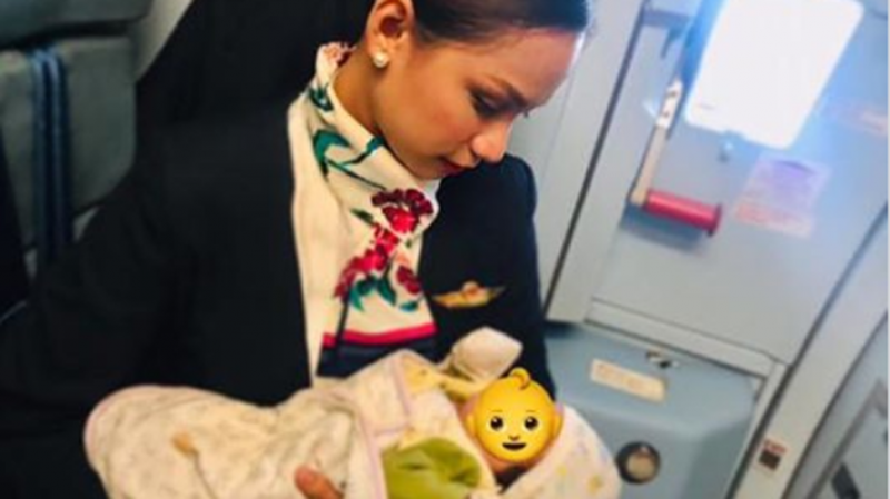Air hostess breastfeeds hungry infant on board flight as mother runs out of formula milk, wins million hearts