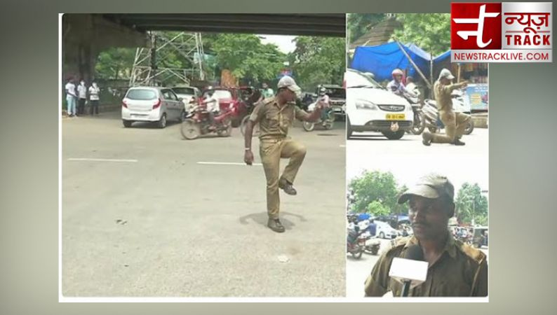 Watch PC Khandwal, a home guard in Bhubaneswar use dancing moves to control traffic