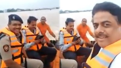 Maharashtra: Laughing video of minister visiting flood-hit area goes viral