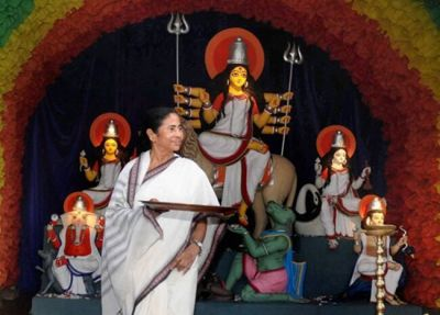Mamata Banerjee, who will give financial assistance to Durga Pandals, says,