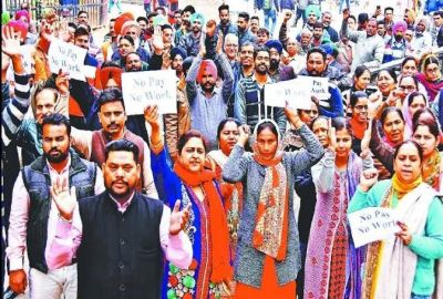 Punjab government delays salary of employees, staff holds pen-down strike