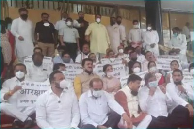 BJP MLAs protesting outside The House against suspension of 12 MLAs