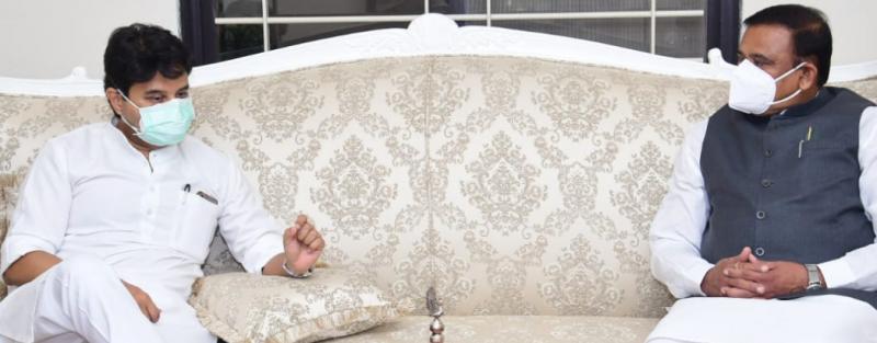 भोपाल: मंत्री भूपेंद्र सिंह से मिले राज्यसभा सांसद ज्योतिरादित्य सिंधिया