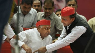 Mulayam Singh Yadav sworn in as MP on a wheel chair