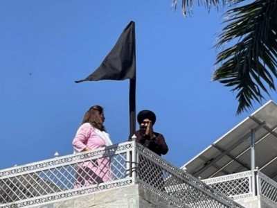Navjot Singh Sidhu Flags Off Black Flag At His Residence In Support Of Farmer Protest
