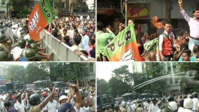 Kolkata: BJP surrounds government on public interest issue, police beaten up badly