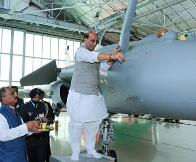 Congress leaders attack Rajnath Singh for weapon worship of Rafael