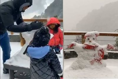 MS Dhoni seen enjoying snowfall with Jiva in Mussoorie, watch video