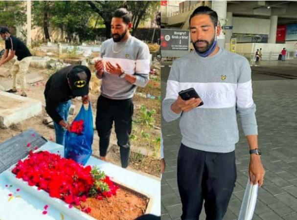 भारत लौटते ही पिता की कब्र पर पहुंचे मोहम्मद सिराज, नहीं दे पाए थे अंतिम विदाई